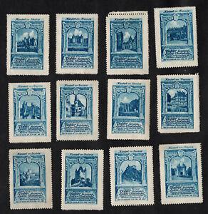 Famous Castles Tobler Poster Stamp Card Set 1922 England Scotland Swiss French