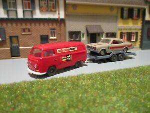 Konvolut Renntransport VW T2 + Anhänger + Opel Rekord C Coupe 1:87 H0 WIKING