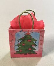 Miniature Christmas Bag- Christmas Tree with Red Tissue