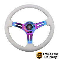 14inch ABS Racing Steering Wheel 350mm Deep Corn Neochrome Spoke Black 6-Bolt