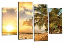 SUNSET BEACH WALL ART PICTURE ORANGE RED TROPICAL ISLAND SPLIT PANEL CANVAS