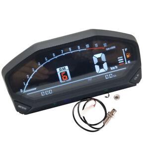 Motorcycle LED Speedometer Odometer Tachometer LCD AV Screen Universal w/ Sensor