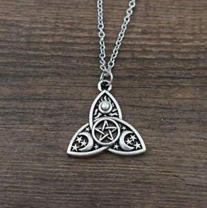 Triple Moon Pendant Goddess Pagan Wiccan Pentacle Triqueta Necklace - UK Seller