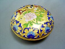 LOVELY VINTAGE CHINESE CLOISONNE ENAMEL PEONY BUTTERFLIES COSMETIC TRINKET  BOX