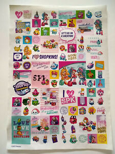 Shopkins sticker sheet, 90 stickers, unused