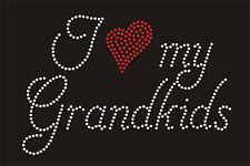 I love grandkids Rhinestone iron on Bling Transfer DIY Hot fix Applique Grandma