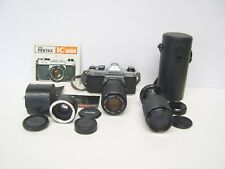 Asahi Pentax K1000 35mm SLR Camera Pack + Lenses and Instruction Manual