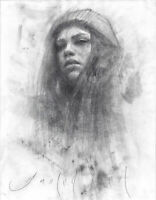 YOUNG GIRL with A HAT 8x11 Female Portrait Mixed Media Original Charcoal Drawing