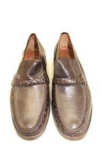Vtg CLARKS Handmade Brown Leather Braided Slip On Loafer 1970s  Men's 11.5D