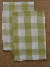Set of 2 Park Designs WICKLOW Check Kitchen Towels - Aloe Green and Off White