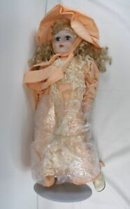 "Vtg Porcelain Victorian Style Doll 22"" Tall Blonde Hair w/ Stand Peach Dress"