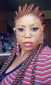 Fully hand braided Ghana banana Big braid  back down cornrow wig