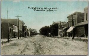 """1910s SCANDIA, Kansas Postcard """"Street Scene Looking East"""" C.U. Williams #3971"""