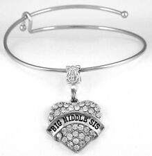 Big Middle Sister Bracelet Sister Gift Sisters Bangle Sis Present Sisters charm