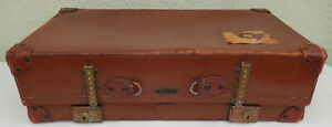 Antique Circa 1920's Leather Suitcase, Trunk  by Hegaro * Great Decorator Piece
