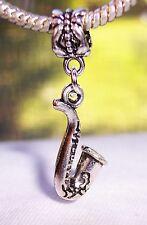 Saxophone Musical Instrument Music Jazz Band Dangle Charm for European Bracelets