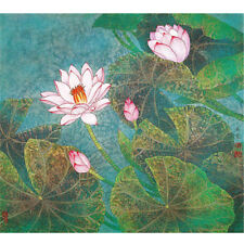 Wooden Jigsaw Puzzles 500 PCS Lotus Flowers Chinese Painting Collectibles Decor
