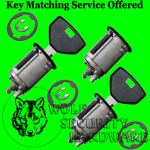 Jeep Wrangler 1991-98 Door Rear Key Lock Cylinder Set 2 Keys BLACK Face