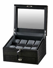 Volta 8 Watch Case Brown Display Box w/ See Through Glass Window and Drawer