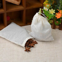 Pack 10 LARGE 6x8 Cotton Muslin Drawstring Reusable Bags for Tea Spice Herb Soap