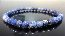 "Genuine Blue Sodalite Bead Bracelet for Men (On Red Stretch) 6mm - 8"" inch"