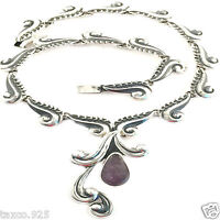 VINTAGE STYLE RODRIGUEZ TAXCO MEXICAN 950 SILVER AMETHYST NECKLACE MEXICO
