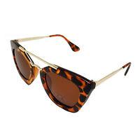 Women Squared Double Metal Bridge Cat Eye Vintage Retro Sunglasses Eyewear 393