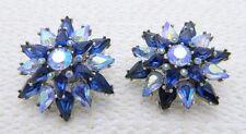 VTG RARE CROWN TRIFARI Silver Tone Blue AB Rhinestone Star Clip Earrings