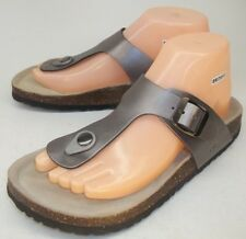 J-41 Womens Sandals Slides ADELE US 9 M pewter footbed faux leather buckle New