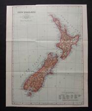 Antique Map: New Zealand, Encyclopedia Britannica, 1910, Colour