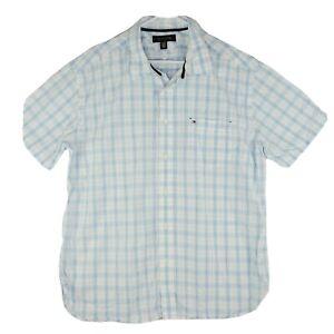 Tommy Hilfiger Shirt Mens X-Large White Blue Plaid Short Sleeve Pocket Casual