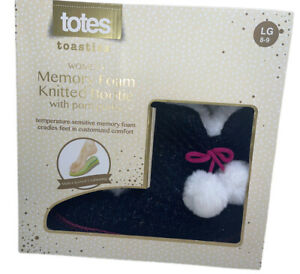 TOTES TOASTIES WOMAN'S MEMORY FOAM KNIT BOOTIE SLIPPERS, SIZE 8/9