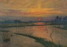 Kunstkarte/ Postcard: Otto Modersohn - Sonnenuntergang / Überschwemmung Wümme