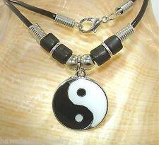 "21mm Round Taijitu Yin-Yang Yin Yang Black White Enamel Beaded Necklace #1 19"""
