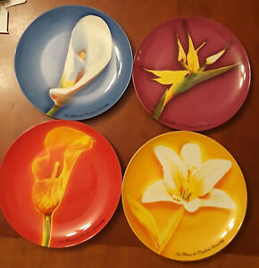 Vintage Givenchy Perfume Plates Flowers, Set of 4