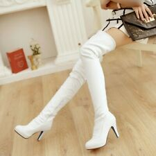 Women Boots Round Toe Platform Stiletto Thigh High Boots Over Knee Party Pumps L