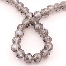 Lot de 50 perles à FACETTES 4mm en Cristal de Bohème Black Diamond