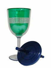 Green Rhinestone Double Wall Acrylic Wine Glass With Lid and Straw -13 Ounce