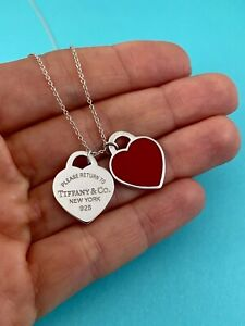 Tiffany & Co Silver & Red Enamel Small Double Heart Tag Pendant Necklace RRP$555