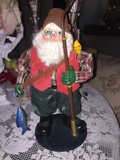 "Fishing Santa Clause Figure Has Pole Net Basket String Of Fish 12"" Tall"