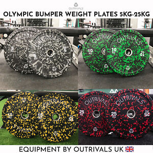 Olympic Rubber Weight Plates 5kg - 25kg 2 Inch Bumper Pairs Sets Gym Crossfit