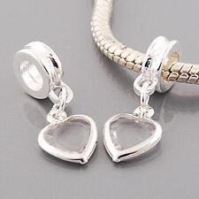 Crystal Heart Dangle Pendant Charm For European Silver Charm Bracelets m2034