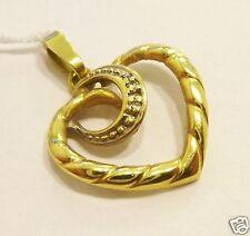 Goldanhänger Herz 585 er Gold Anhänger Herzanhänger mit zwei kleinen Diamanten