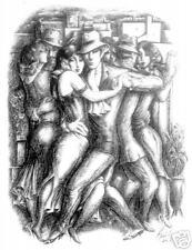 ARGENTINE TANGO  DANCING  print art Dance Ballroom B&W
