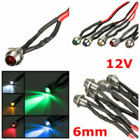 1/5X 6mm 12V Car Metal LED Indicator Lights Bulb Pilot Dash Lamp With Wire Lead
