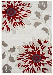 Vogue Contemporary Classic Beige Red Damask Floral Soft Warm Traditional...
