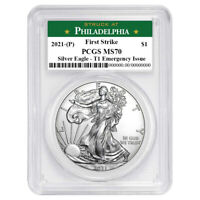 2021 (P) $1 American Silver Eagle PCGS MS70 Emergency Issue FS Philadelphia Labe