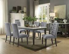 Rustic Gray Finish 7pcs Dining Room Rectangular Marble Top Table Chairs Set ICB8