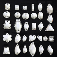 Crystal AB Sew On Rhinestones Flatback Crystal Glass Teardrop Oval Navette Beads