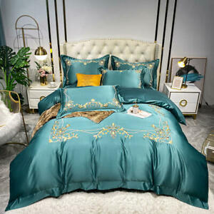 Silk cotton bedding set 4 pcs Simple embroidery quilt cover bed sheet pillowcase